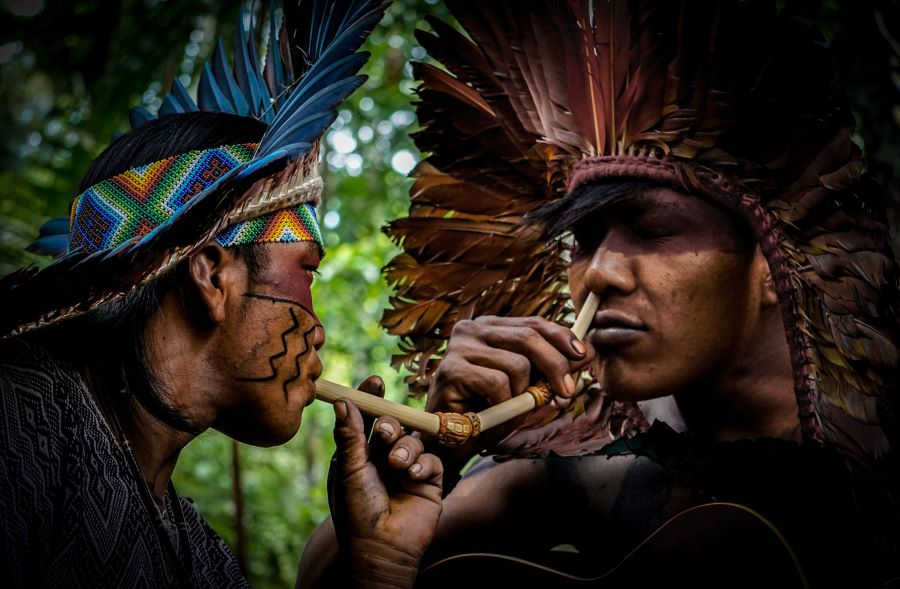 An image of two indigenous people using shamanic snuff.