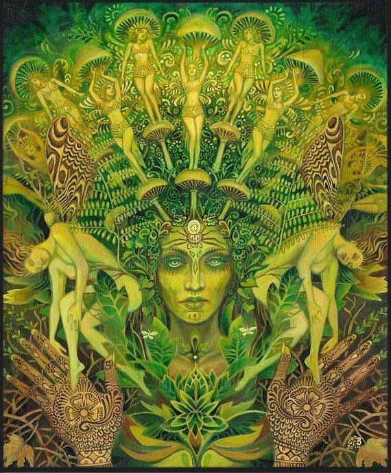 painting of green woman with shroud of mushroom goddesses